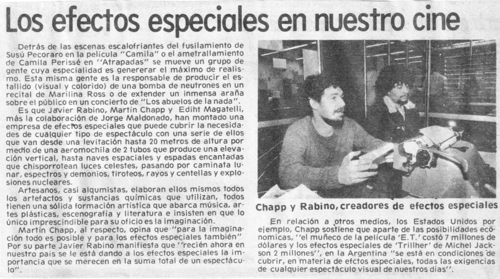 A reportage in a newspaper about our work in special effects