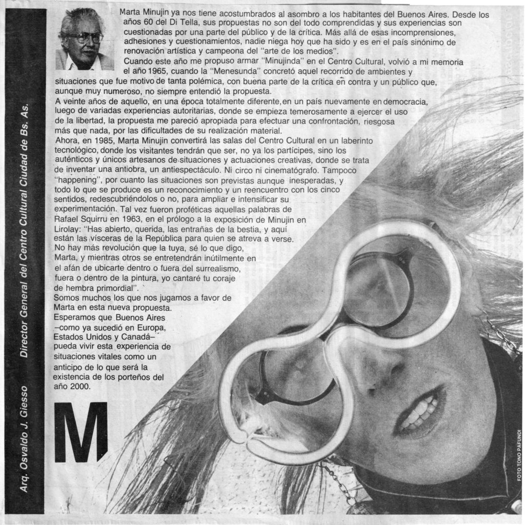 Osvaldo Giesso about Marta Minujin and the project